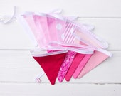 LAST ONE Pink Fabric Bunting Good Will Bunting Strawberry Shortcake