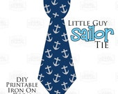 1 Printable Nautical Sailor Tie Blue Anchors Printable Iron On Tie Decal, baby tie, boy Printable Iron on tie for bodysuits shirts