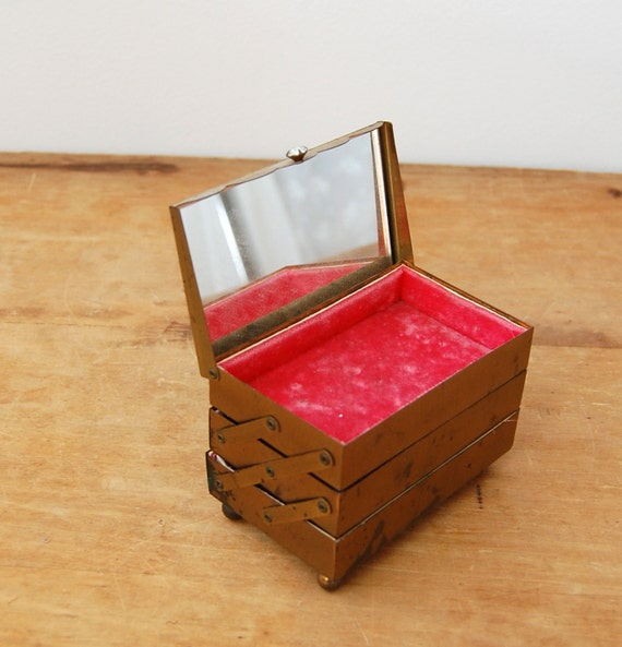 Vintage 1960s Jewelry Box - 60s Hot Pink Box