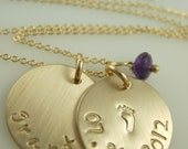 Hand Stamped Gold Necklace-Hand Stamped Gold Jewelry-Engraved Gold Necklace