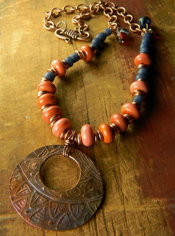 Tribal Copper Pendant Necklace Lampwork Coral Pink Orange OOAK