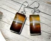 Caramel Botswana Agate Sterling Silver Earrings