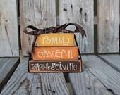 PrimitiveThanksgiving Grateful Family MINI STACKER Wood block set  fall autumn pumpkin home seasonal decor