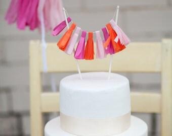 Hot Pink Tassel Garland Cake Topper