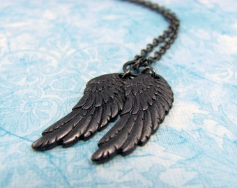 Black Wings Necklace of Castiel Wings, Raven Wings, Fallen Angel Wings. Castiel Necklace.  Fallen Angel Necklace. Dark Angel Wings Necklace.