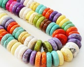 Bright Multi Colored Magnesite Turquoise  Disc Beads (28) Pieces 15mm/Only Beads Not Finished jewelry