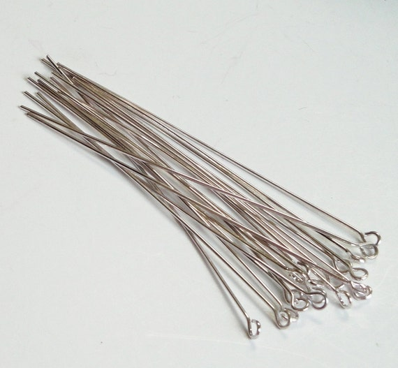 Silver Eyepins, Long Eye Pins, Silver Dark Long Eyepins 3 Inch 70mm Approx, 100 Pieces 21 Guage, For Jewelry Making, Diy Jewelry Findings