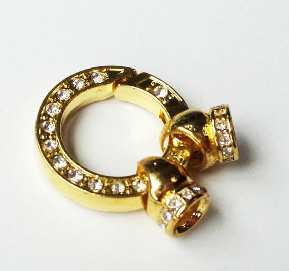 Gold Pendant Bezel With Clear Rhinestone/ Glue On Beads Pendant Cascade