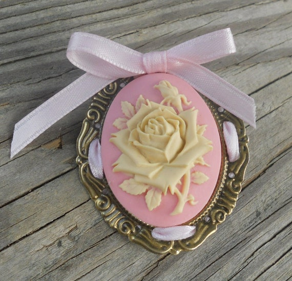 Romantic Rose Cameo Brooch Broach Pin