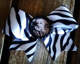 Marilyn Monroe modern tattoo bottlecap large zebra hair bow pin up retro
