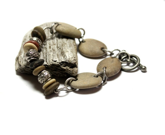 Beach Stone Bracelet and Metalwork Style Stones- Natural River Pebbles Rocks Jewelry by Allybeans