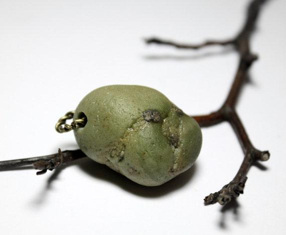 Genuine Stone Jewelry Sea Glass- Sage Green Slag Glass Pendant Supplies- Handmade Bead for Jewellery Makings by Allybeans