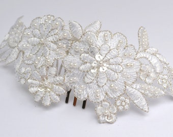 Ivory Bridal Headpiece, Wedding Hair Comb, Wedding Headpiece, Beaded White Hair Accessory, Embroidered Headpiece