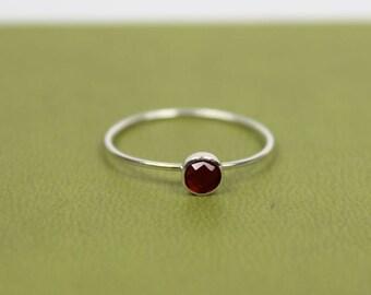 Garnet Ring, Hessonite Garnet Ring, Hessonite Ring, Orange Garnet Ring, Brown Garnet Ring, Barely There Ring, January Birthstone Ring