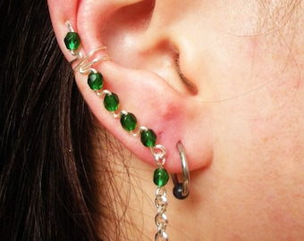 Handmade Rightside Ear cuff with Green Glass and Silver Rollo Chain
