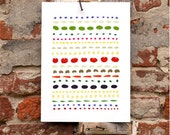 "Food pattern - Art for Kitchen 11""x15 Wall decor - archival fine art giclée print"