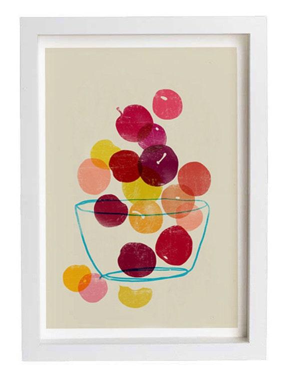 Kitchen art plums summer fruit art high quality fine - Vintage art for your modern kitchen ...