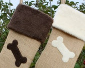 Dog Christmas Stocking- Burlap and Bone for Your Faithful Compainion