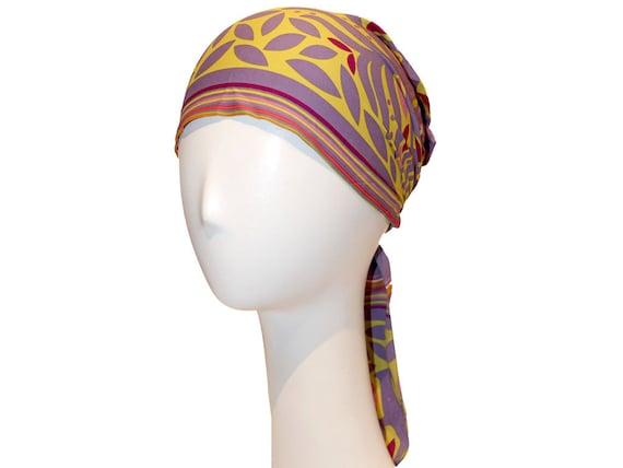 Silk Headscarf - comfortable, purple, turban, headwrap, hair cover, summer, spring