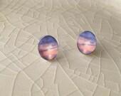 Bridgman's Weko Beach Sunset.  Sterling Silver Photograph Earring Studs