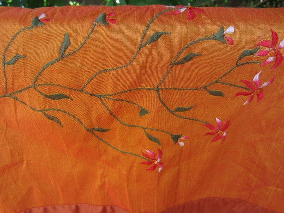 Bright Orange Embroidered Table Runner