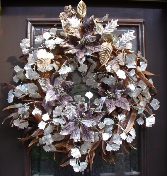 Modern Christmas Wreath Holiday Wreath Door Wreath