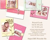 DIGITAL, Printable Girl Birth Announcement - Spring Floral Collection - U PICK
