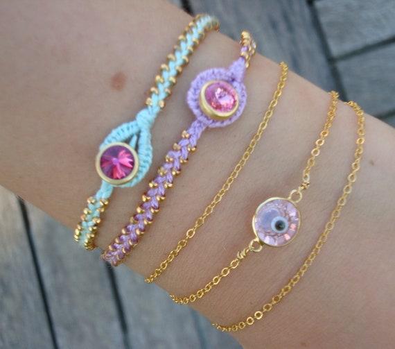 FREE SHIPPING Evil Eye Beaded Friendship Bracelet Set - Pink Lila Turquoise Bracelet