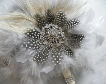 12 piece Ivory Peacock,Grey feather,black and white guinea bridal/bridesmaid bouquet package