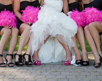 10 piece Pink  feather bridal/bridesmaid package