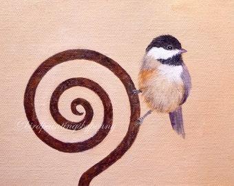 Chickadee Painting 8 x 10 original bird painting