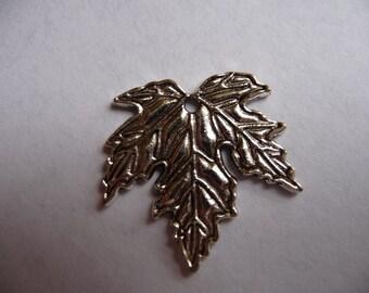 SALE!!  Charm, antiqued, silver finished, pewter, zinc based alloy, 24mm, maple leaf, Pkg Of 3  SALE!!