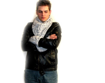 Hand Knitted Warm and Cozy Man's Neck Warmer and Nand Warmer Grey Melange Color