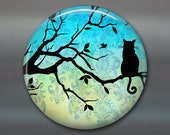 "3.5"" silhouette cat fridge magnet, cat decor, kitchen decor, large fridge magnet, big magnet, blue decor MA-600"