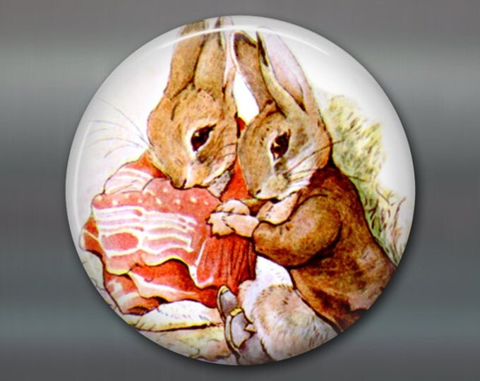 "3.5"" Beatrix Potter magnet, bunny fridge magnet, cute bunny decor, large children's magnet, stocking stuffer for kids  MA-111"