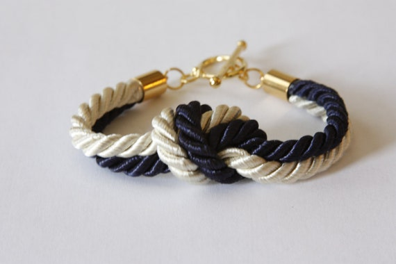 Multi Color Nautical Knot Rope Bracelet with Gold Toggle Clasp