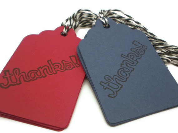 SALE - 50% off - Thanks Tags in Red and Blue, Pre-Strung - set of 14 - HANDMADE by the KIDS