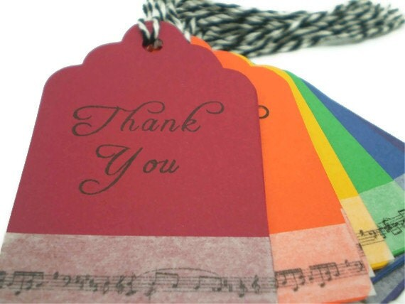 Elegant Thank You Tags in Rainbow Colors with Music Notes, set of 12