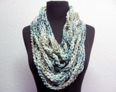 Chain Me Up chunky Infinity Scarf Necklace  Cooling Forest Greens