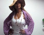 Lilac Long Sleeve hand crochet spring summer sweater shrug