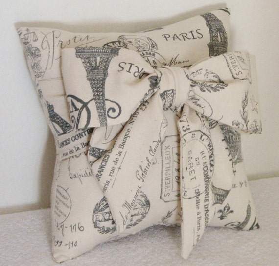 Paris Inspired Bow Accent/Throw Pillow by pillowsbycindee at etsy