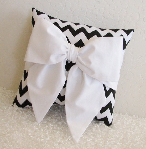 Black and White Chevron Bow Accent-Throw Pillow by