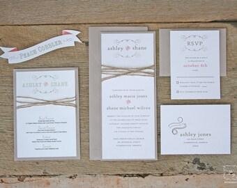 Rustic Twine Wedding Invitation Set Sample
