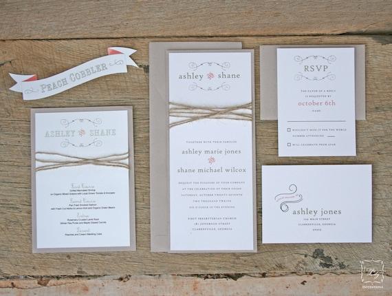 Great Rustic Twine Wedding Invitation Set Sample