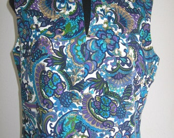 60s vintage peacok print dress large size