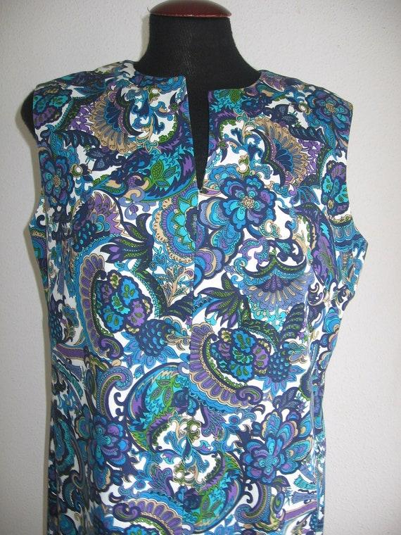 60s vintage peacok print dress large size