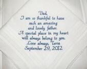 Father of the Bride Wedding Handkerchief Your custom saying