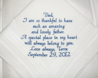 Father of the Bride Wedding Handkerchief Your custom saying