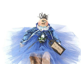 Ballerina Doll, Ballerina, Primitive, Primitive Doll, Primitive Ballerina Doll, Blue, Blue Satin, Roses, Pointe Shoes