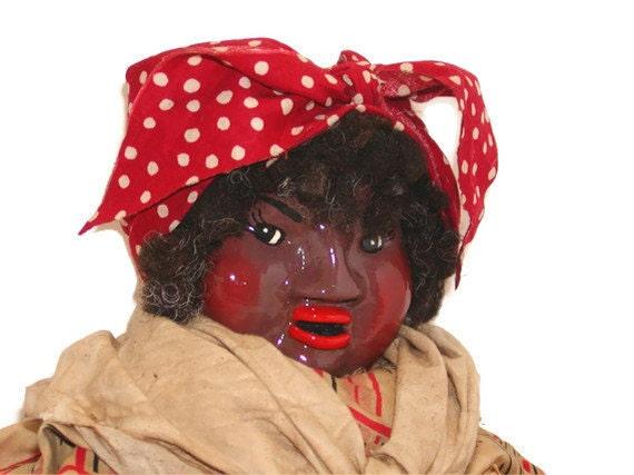 Black Americana Mammy Doll Primitive Red And White Polka
